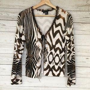 Etcetera Sweater Women M Brown Knit Top Cardigan
